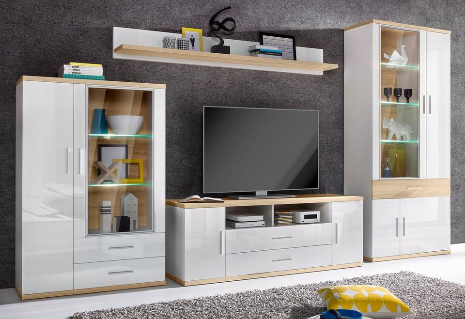 wohnwand arena 4 tlg breite 360 cm inkl. Black Bedroom Furniture Sets. Home Design Ideas