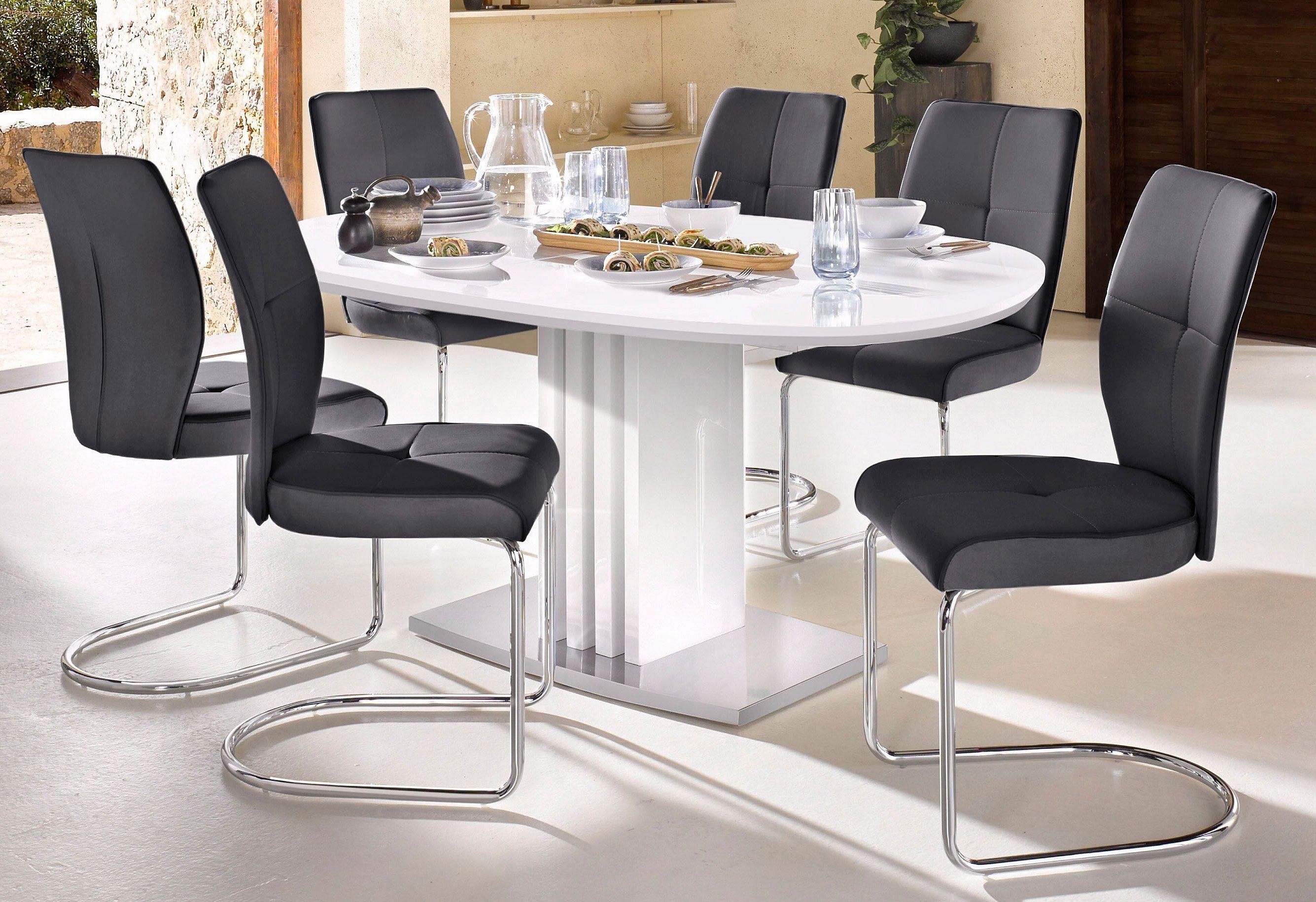 Esstisch mit Auszugsfunktion und ovaler Tischplatte, Breite 160 cm