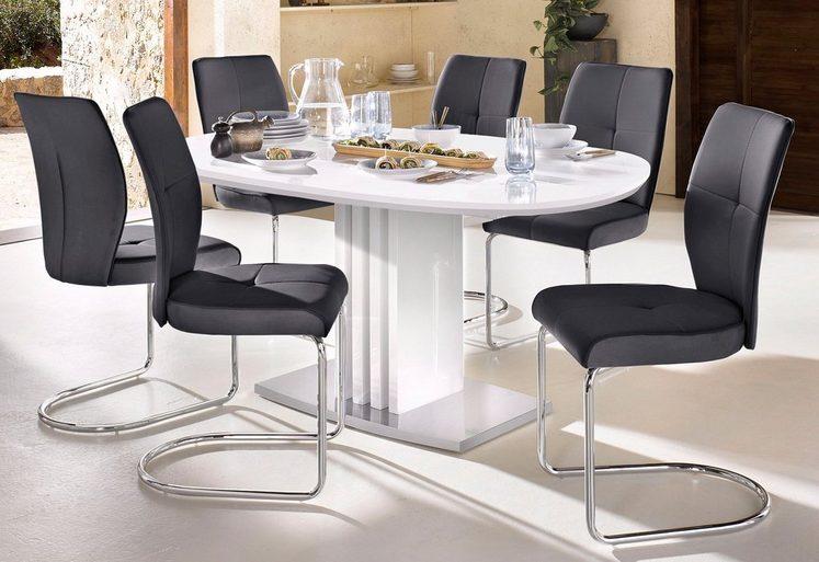 esstisch mit auszugsfunktion und ovaler tischplatte breite 160 cm online kaufen otto. Black Bedroom Furniture Sets. Home Design Ideas