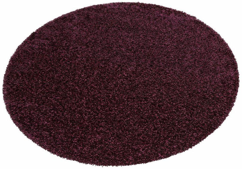 Hochflor-Teppich, rund, my home, »Finn«, Höhe 45 mm, gewebt mit Melange-Effekt in violett/schwarz