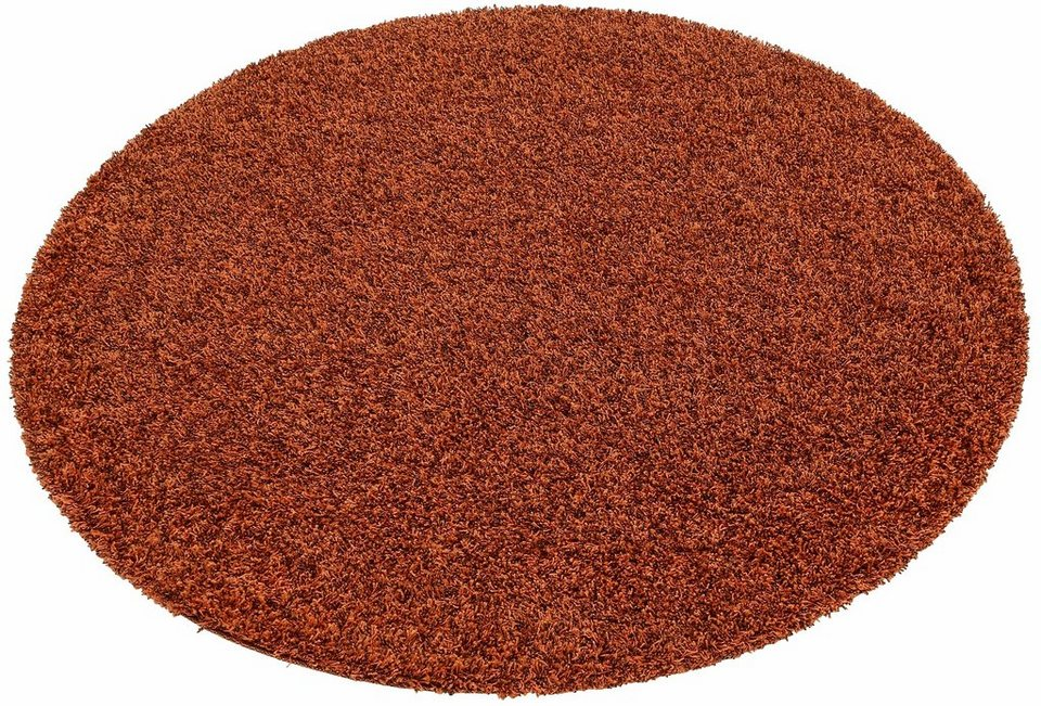 Hochflor-Teppich, rund, my home, »Finn«, Höhe 45 mm, gewebt mit Melange-Effekt in orange/braun