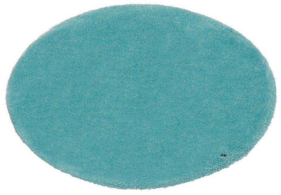 Hochflor-Teppich, rund, Tom Tailor, »Soft«, Höhe 30 mm, handgearbeitet in blau-Atlantik
