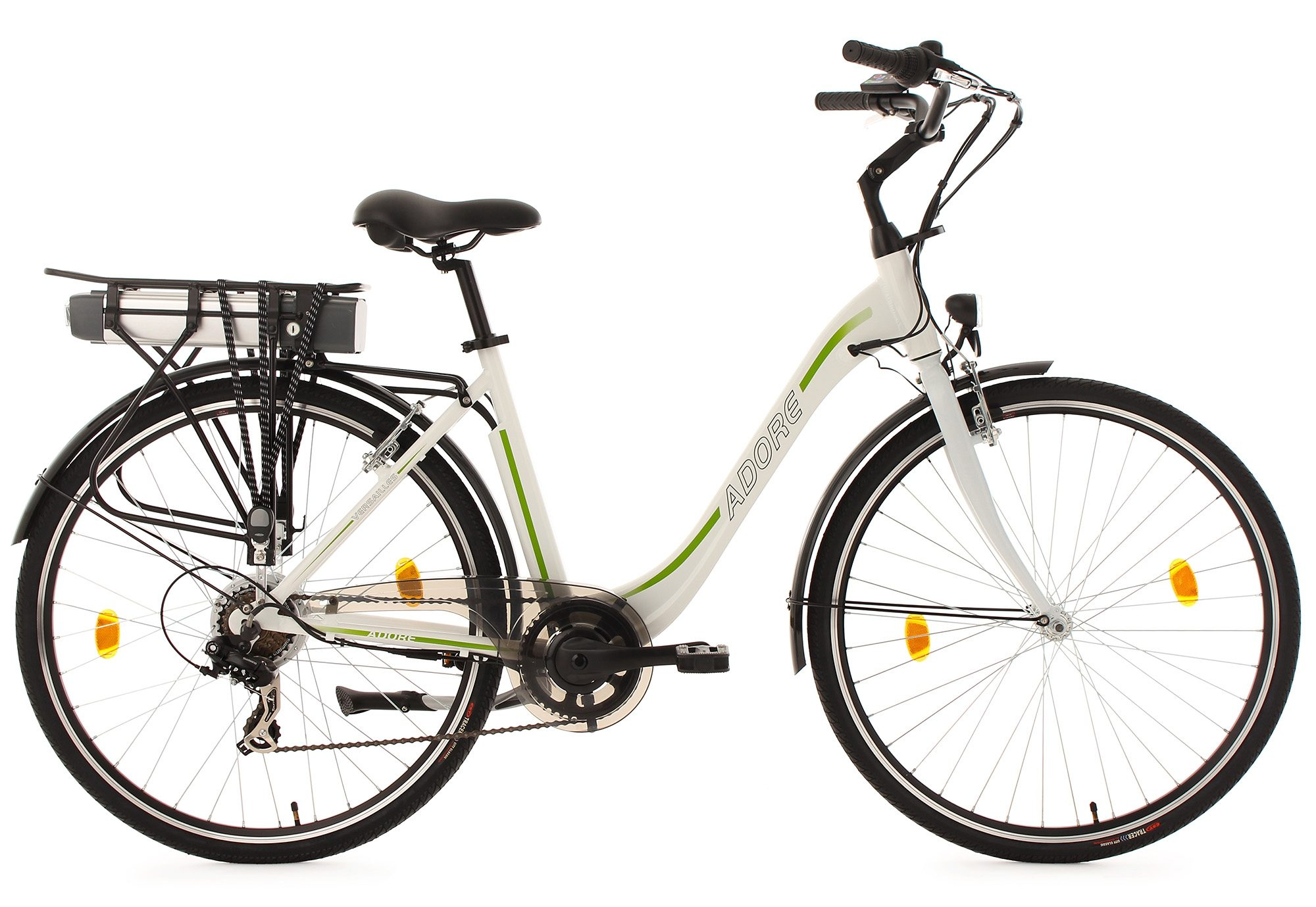 Adore Damen-E-Bike City, 28 Zoll, weiß-grün, 7 Gänge, 250 Watt Li-Ion, 36V/10,4Ah, »Versailles«