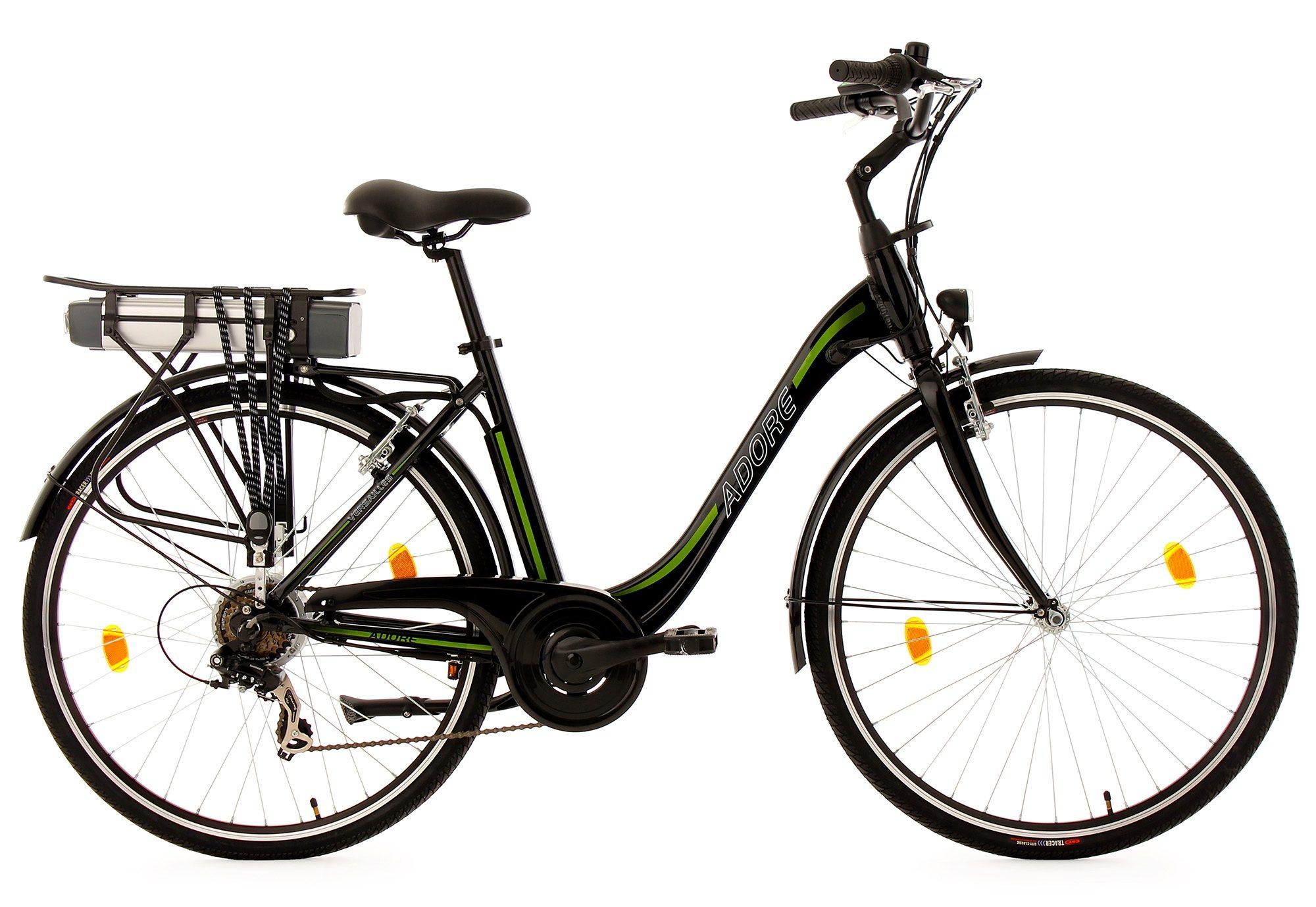 Adore Damen-E-Bike City, 28 Zoll, 7 Gänge, 250 Watt Li-Ion, 36V/10,4 Ah, schw.-grün,»Versailles«