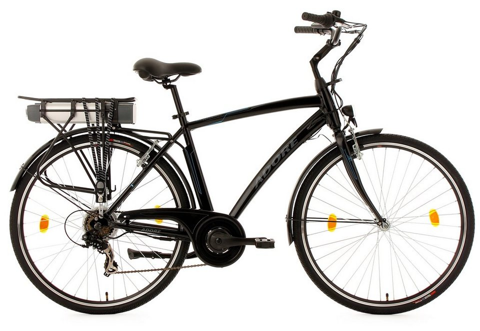 Adore Herren-E-Bike City, 28 Zoll, 7 Gänge, 250 Watt Li-Ion, 36V/10,4 Ah, schwarz, »Versailles« in schwarz