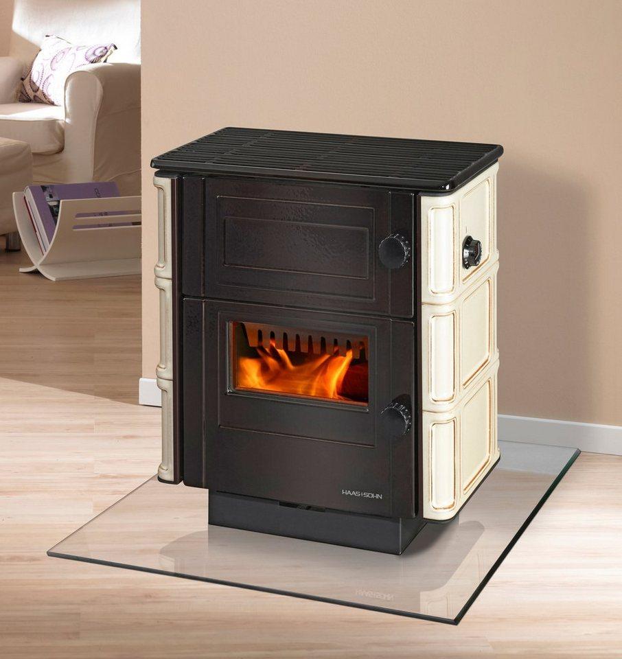 Kaminofen »Velten«, Kachel beige, 6 kW, emaillierter Stahl, Dauerbrand in natur