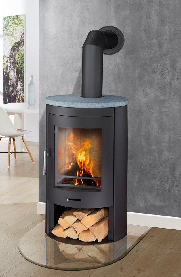 Kaminofen »Oval«, Naturstein, 11 kW, klares Design, Holzfach in grau