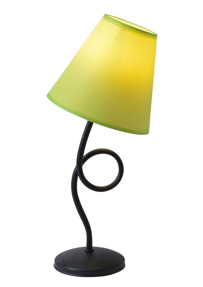 Näve Tischleuchte, 1 flammig, ohne Leuchtmittel in Leuchte Metall schwarz, Schirm Textil grün