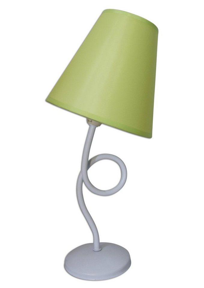 Näve Tischleuchte, 1 flammig, ohne Leuchtmittel in Leuchte Metall weiß, Schirm Textil grün