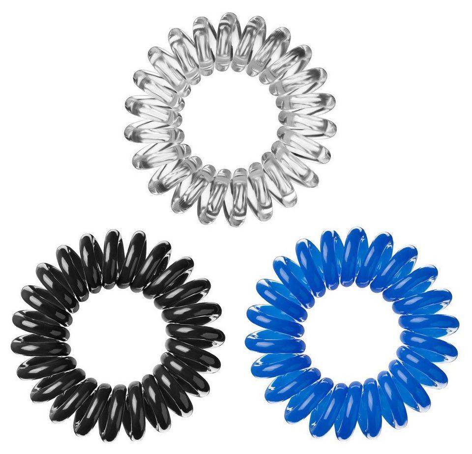 »Invisibobble«, Spiral-Haargummi (9-tlg. Set) in Black/Crystal/Blue
