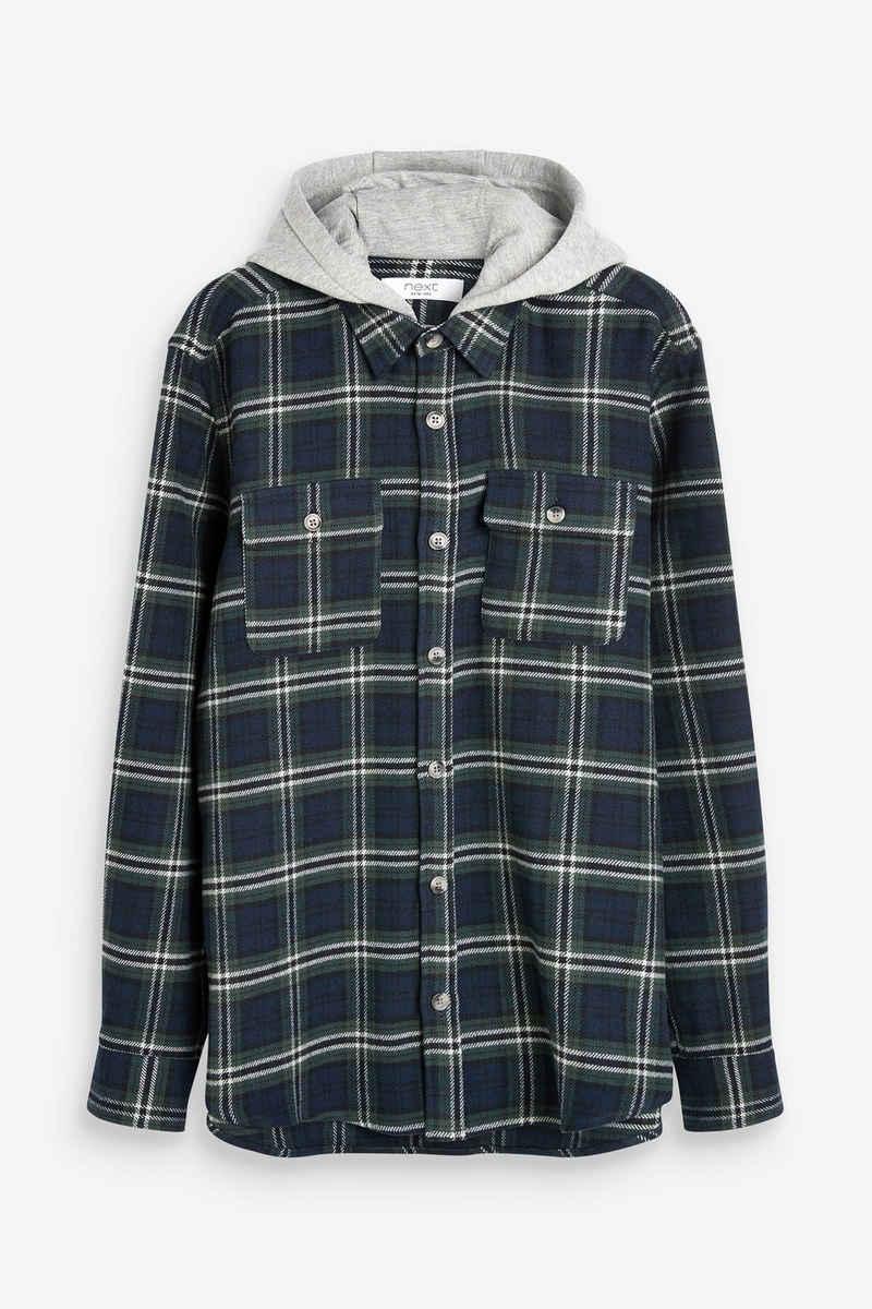 Next Outdoorhemd »Karierte Flannel-Hemdjacke mit Kapuze« (1-tlg)