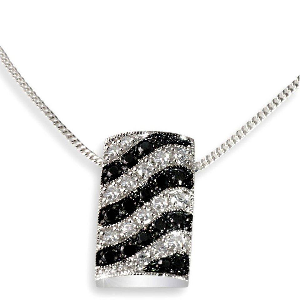 Averdin Collier Silber 925/- Anhänger schwarz weiße Zirkonia Wellenform in silberfarben