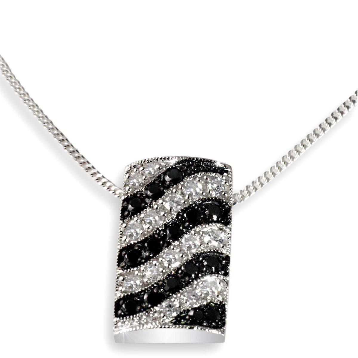 Averdin Collier Silber 925/- Anhänger schwarz weiße Zirkonia Wellenform