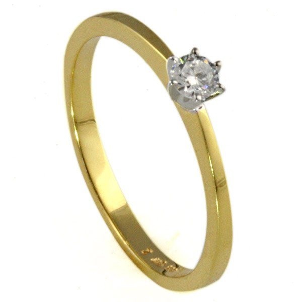 goldmaid Ring Solitär 6er-Stotzen 585 Bicolor Gold 1 Brillant 0,20 ct. in goldfarben