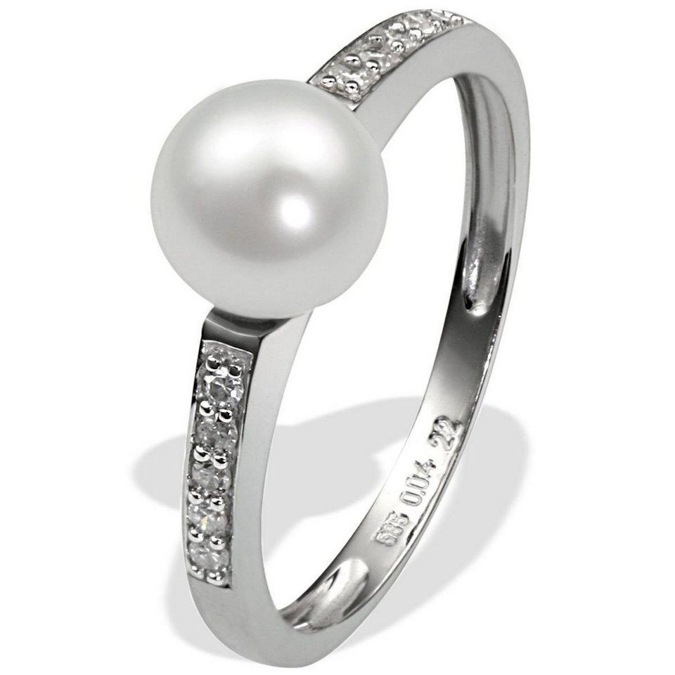 goldmaid Damenring 585/- Weißgold 1 weiße Süßwasserperle 10 Diamanten 0,0 in silberfarben