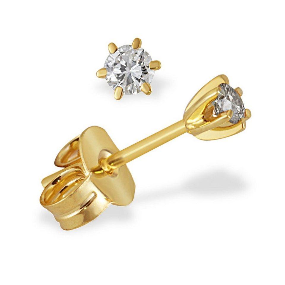 goldmaid Paar Ohrstecker Solitär 6er-Stotzen 585/- Gelbgold 2 Brillanten in goldfarben