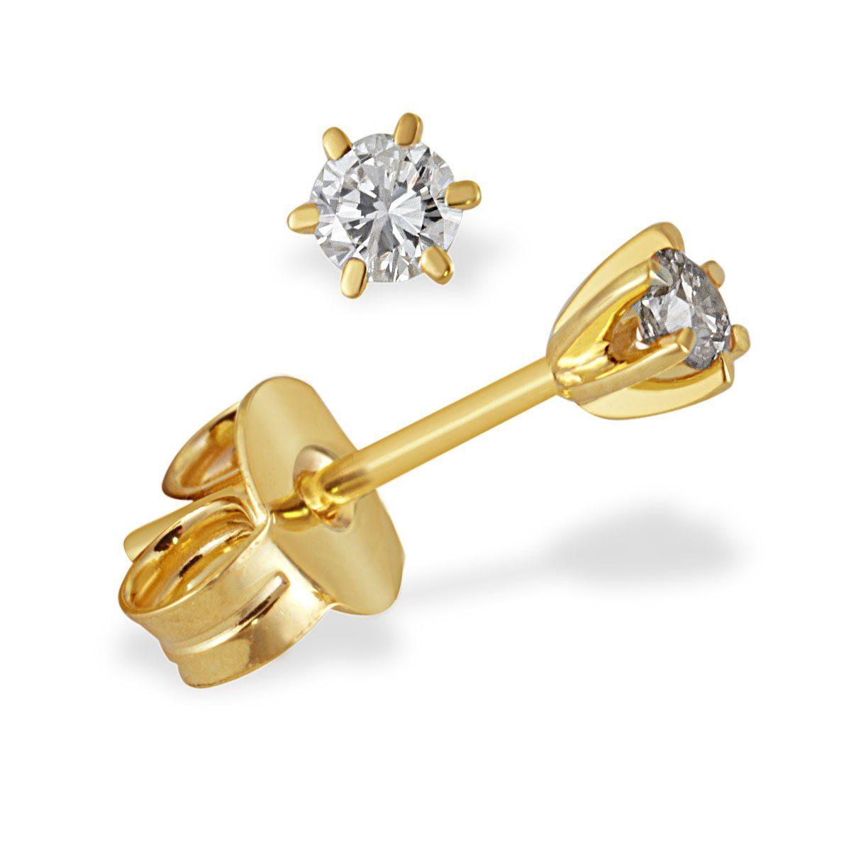 goldmaid Paar Ohrstecker Solitär 6er-Stotzen 585/- Gelbgold 2 Brillanten