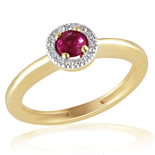 goldmaid Ring 375/- Gelbgold 18 Diamanten 0,07 ct. 1 Rubin in goldfarben
