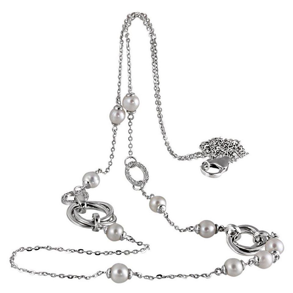 goldmaid Collier Silber 925 Perlen Zirkonia 80 cm lang in silberfarben
