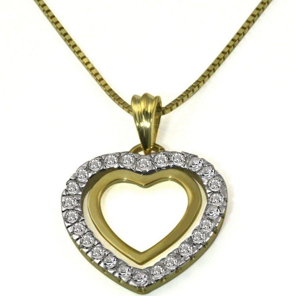 goldmaid Collier Gelbgold 375 Herz Anhänger Diamanten in goldfarben