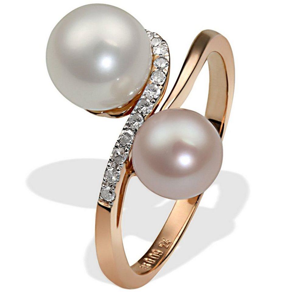 goldmaid Damen-Ring 585 Rotgold 2 Süsswasserperlen 14 Diamanten 0,09ct we in Rotgold