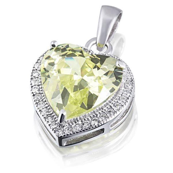 goldmaid Collier Herz 925 Sterlingsilber 1 grüner und 32 weiße Zirkonia in silberfarben