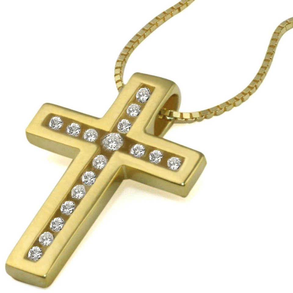 goldmaid Collier Gold 585 Kreuz Anhänger Lupenreine Brillanten in goldfarben