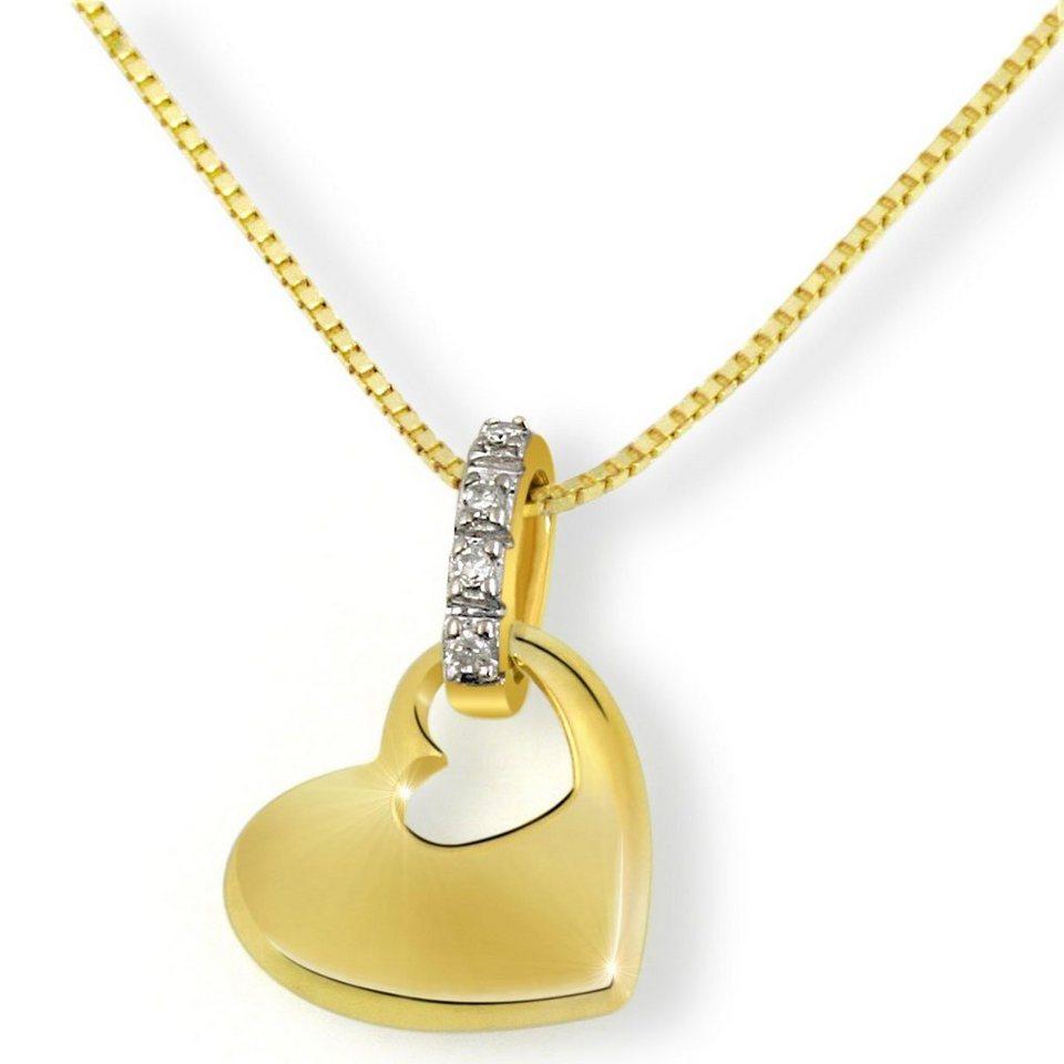 goldmaid Collier Gelbgold 585 Herz Diamanten in goldfarben