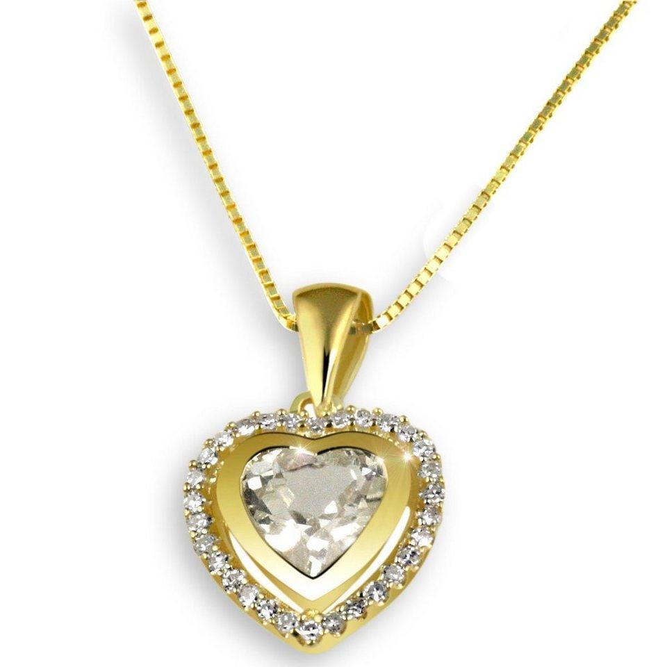 goldmaid Collier Gelbgold 585 Herz Diamanten Weißtopas in goldfarben