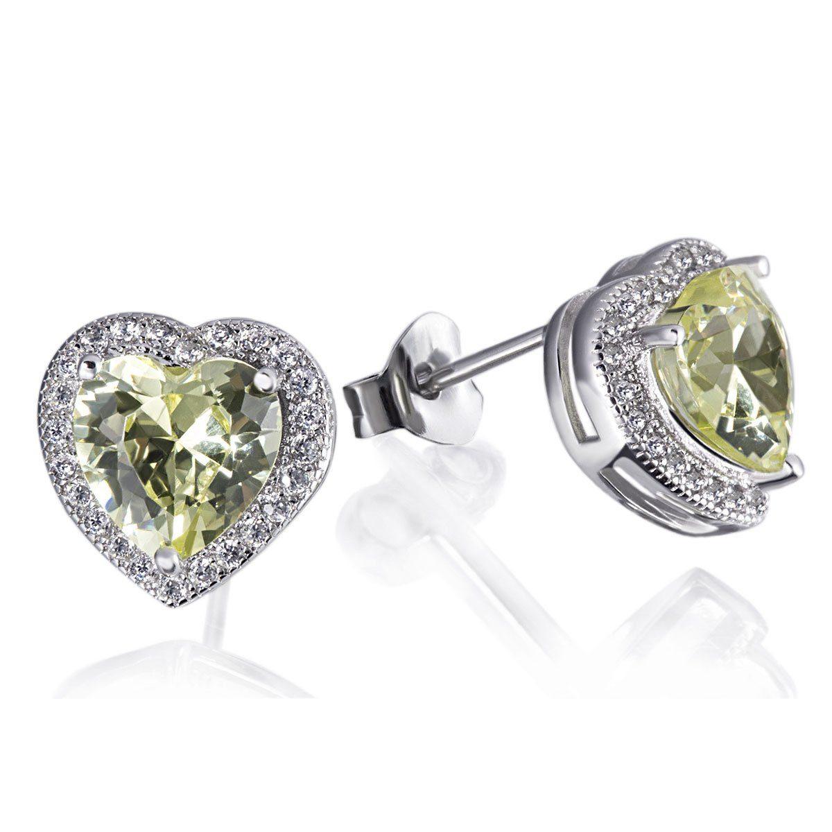 goldmaid Paar Ohrstecker 925/- Silber 2 grüne 40 weiße Zirkonia