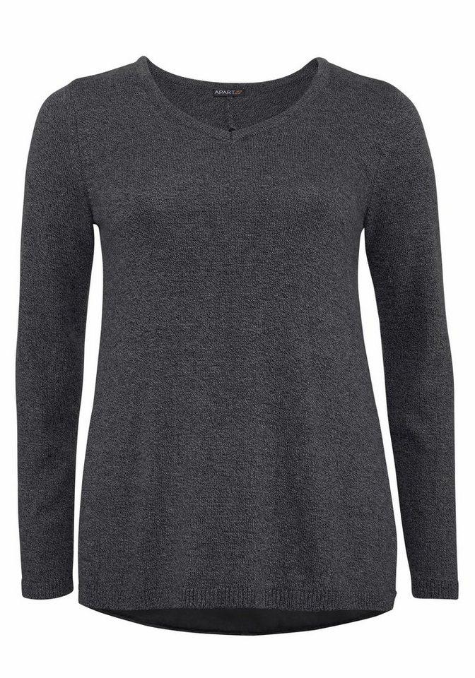 Apart V-Ausschnitt-Pullover Plus Size mit Satineinsatz im Rücken in grau