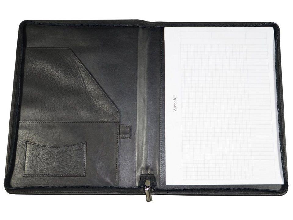 Alassio® Schreibmappe aus Leder A4, »Vallo« in schwarz