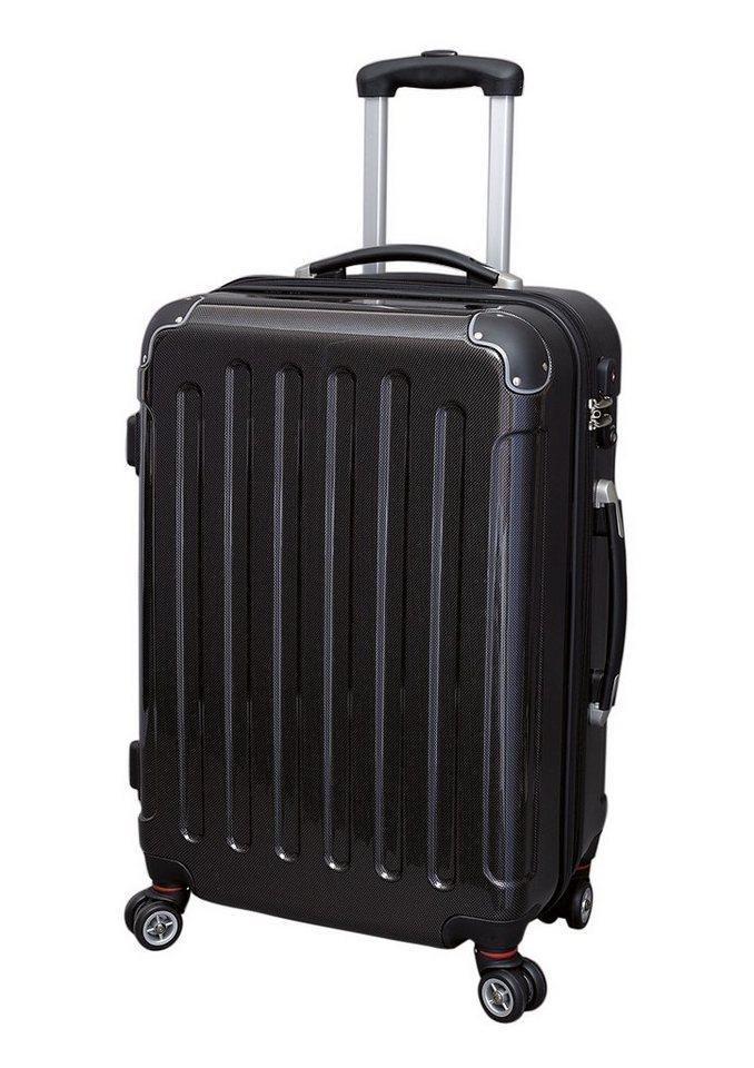 JSA® Hartschalentrolley mit 4 Doppelrollen, »Carbon Look« in schwarz