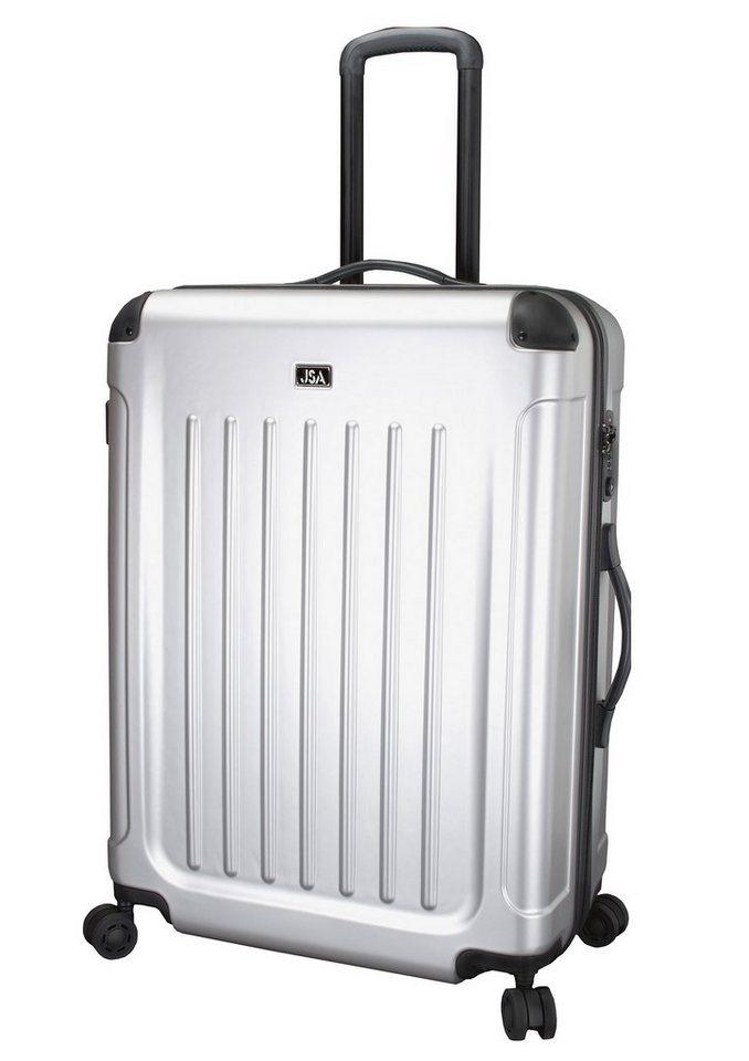 JSA® Hartschalentrolley mit 4 Rollen und TSA-Schloss in silberfarben