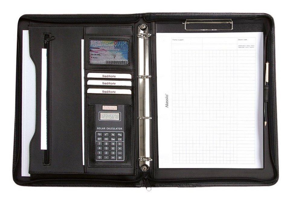 Alassio® Ringbuchmappe mit Taschenrechner A4, »Manerbo« in schwarz