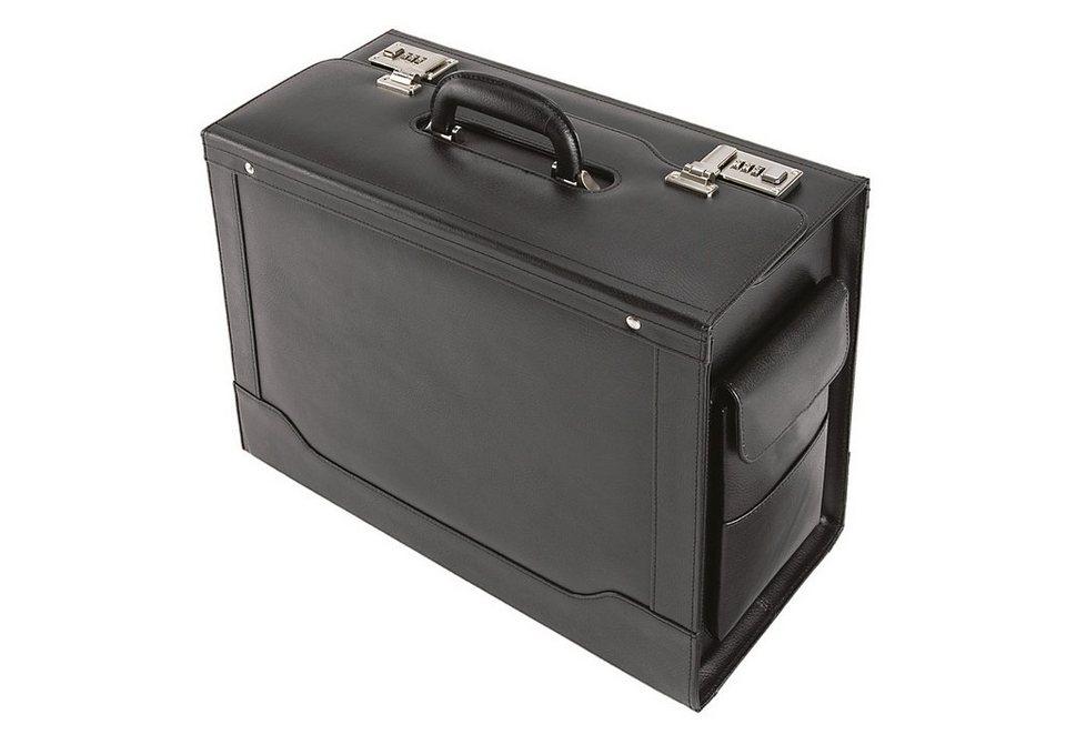 Alassio® Pilotenkoffer aus Leder mit Laptopfach, »Ancona« in schwarz