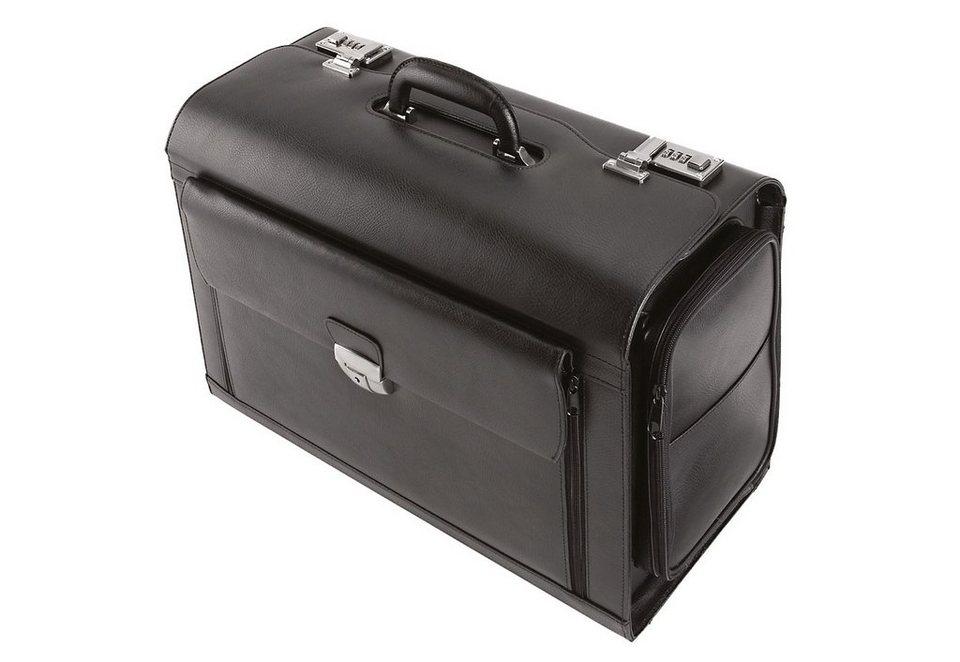 Alassio® Pilotenkoffer aus Leder mit Laptopfach, »Verona« in schwarz