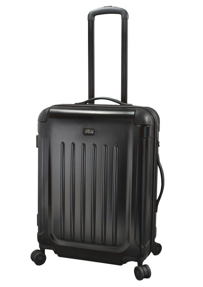 JSA® Hartschalentrolley mit 4 Doppelrollen, schwarz matt in schwarz