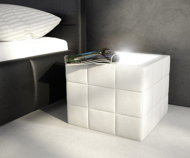 DELIFE Nachtkonsole Nuncia Weiss 41x41x41 cm
