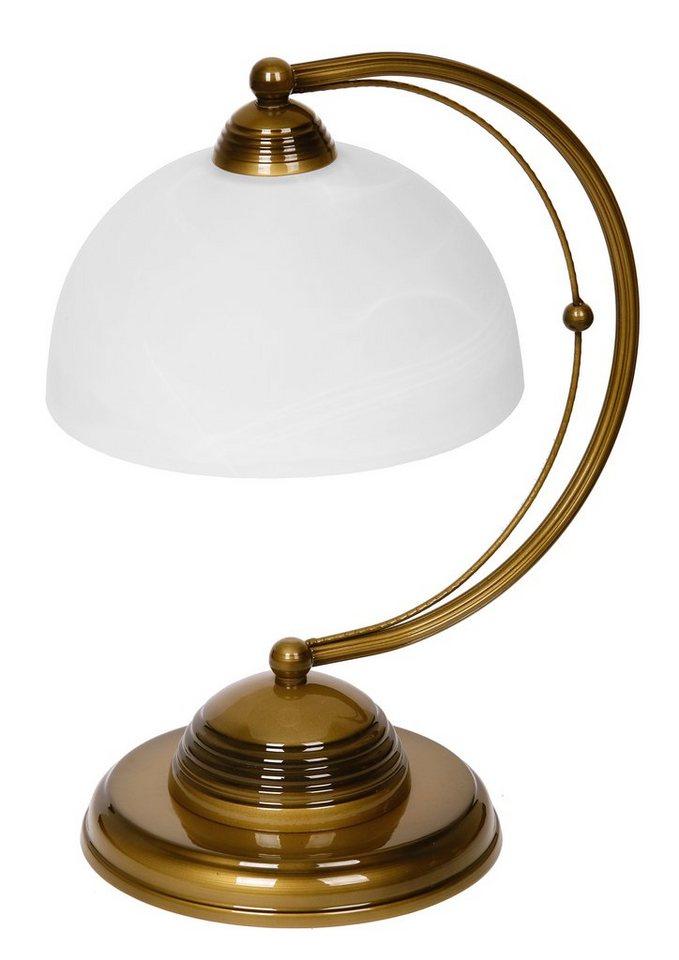 Jens Stolte Leuchten Tischleuchte, 1 flammig, ohne Leuchtmittel in Leuchte altmessingfarben mit alabasterglas Schirme