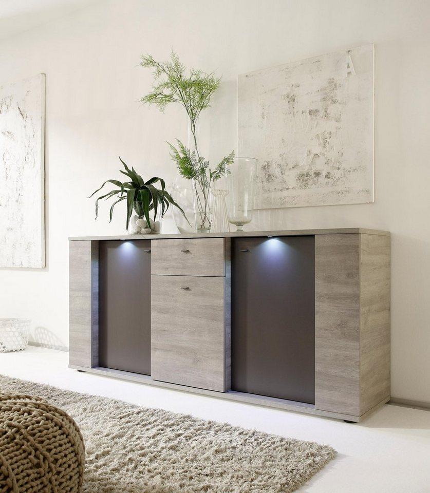 LC Sideboard, Breite 185 cm in eichefarben grau / anthrazit matt