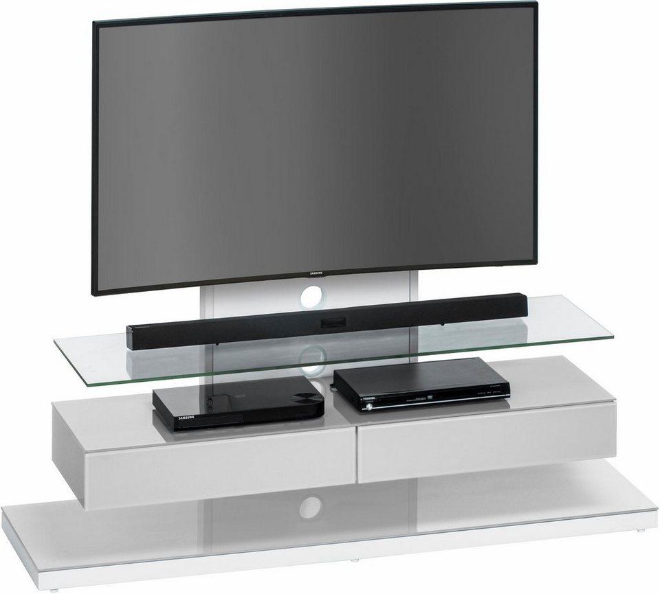 MAJA Möbel TV-Rack »7756«, Höhe 110 cm in Metall weiß - Glas platingrau