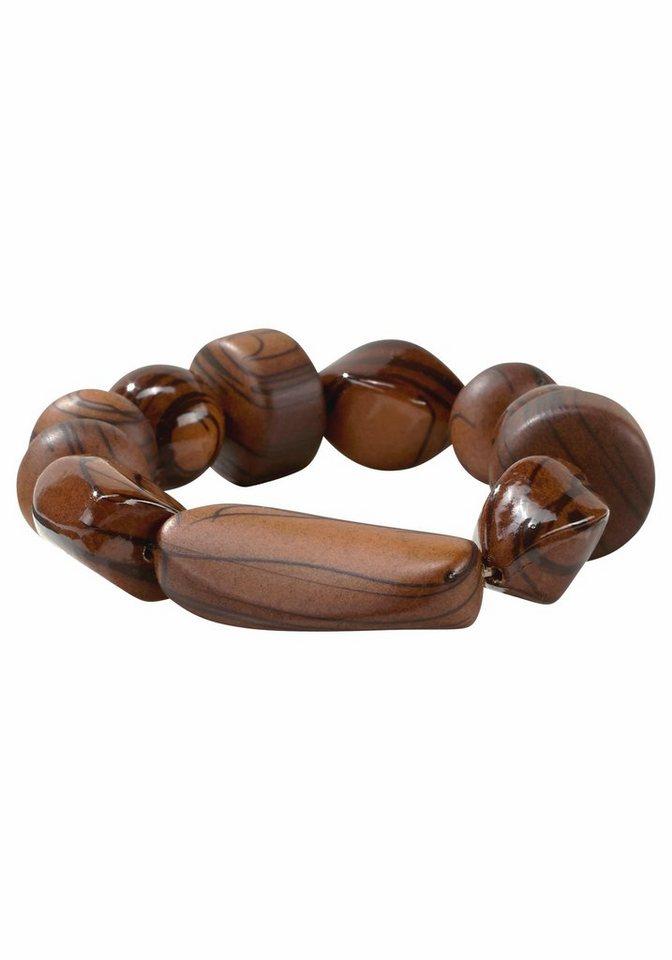 J. Jayz Armband mit dekorativen Schmucksteinen in braun