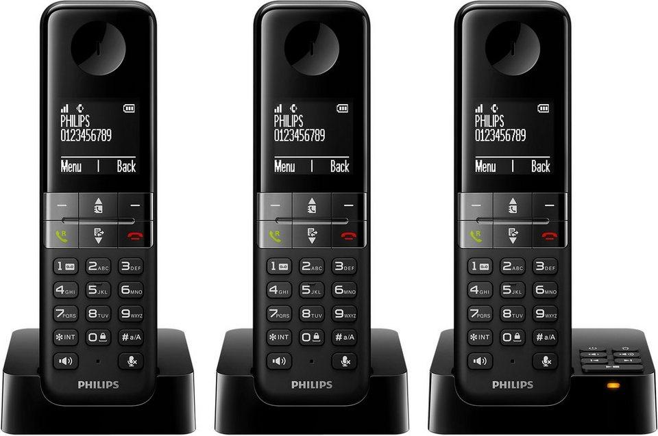 Philips D4553W/38 TRIO Schnurloses DECT Telefon-Set mit AB in schwarz