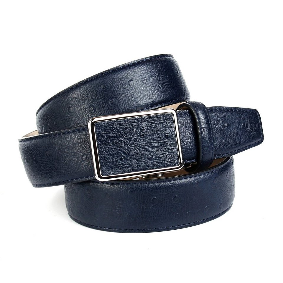 Anthoni Crown Ledergürtel mit Straußen-Prägung in Blau