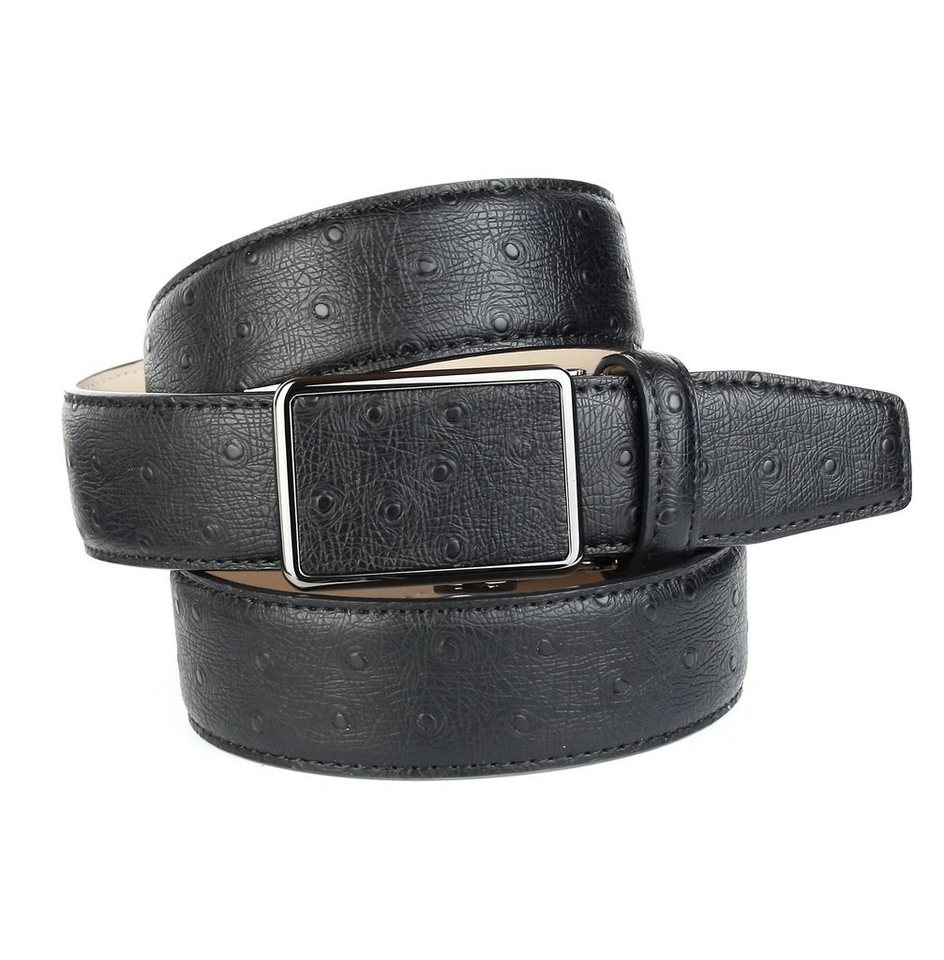 Anthoni Crown Ledergürtel mit Straußen-Prägung in Schwarz