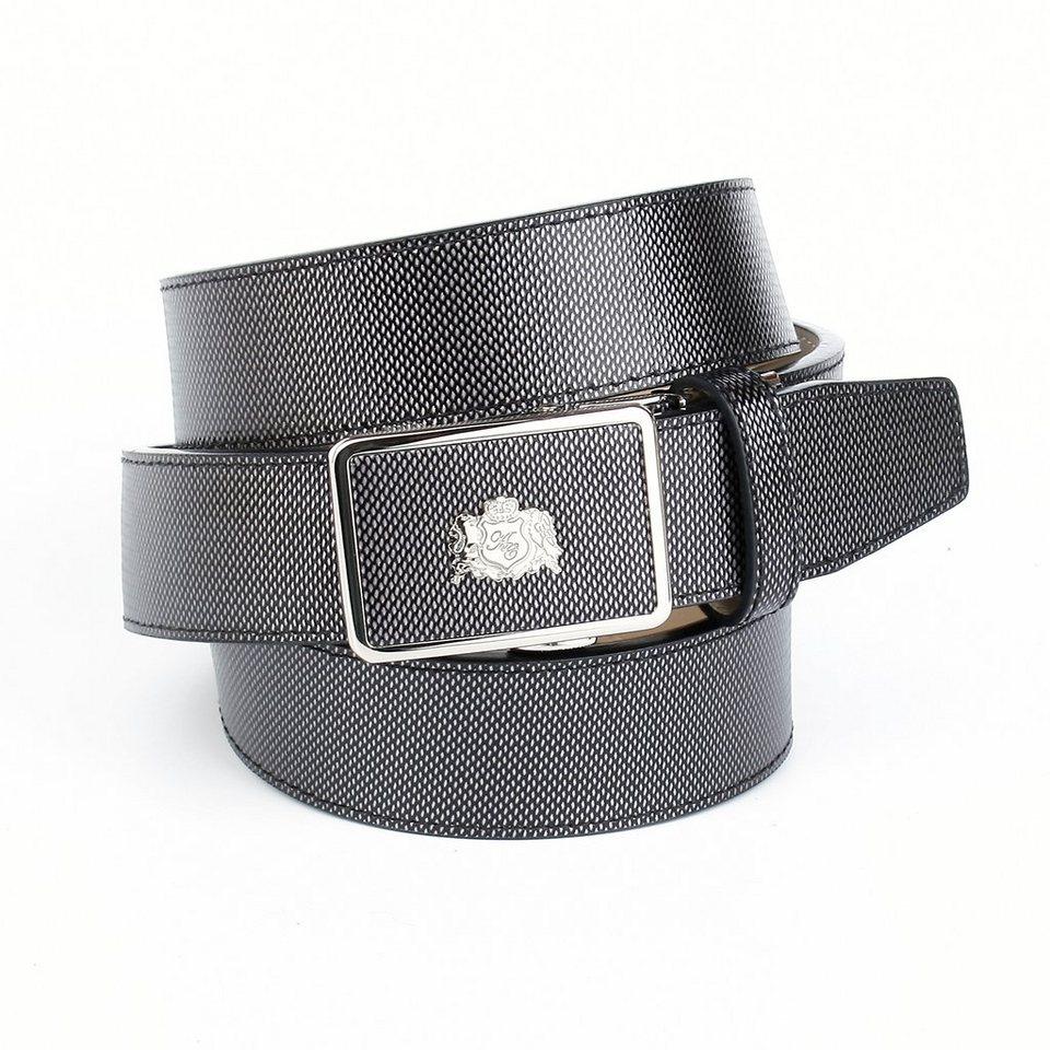 Anthoni Crown Ledergürtel für Freizeithosen in Antrazit