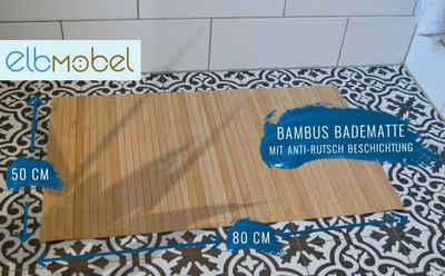 Badematte »Badematte Bambus rutschfest 80x50« elbmöbel, Rutschfest, fußbodenheizungsgeeignet, schnell trocknend, strapazierfähig, Rutschfest, Rollbar