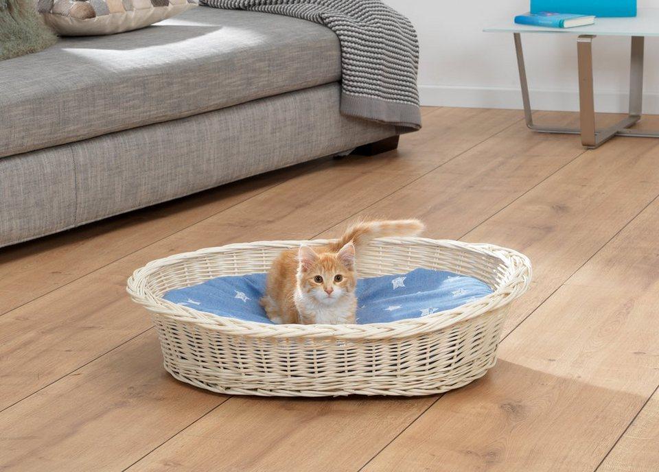 Katzenkorb »Weidenkorb Set« in blau/weiß