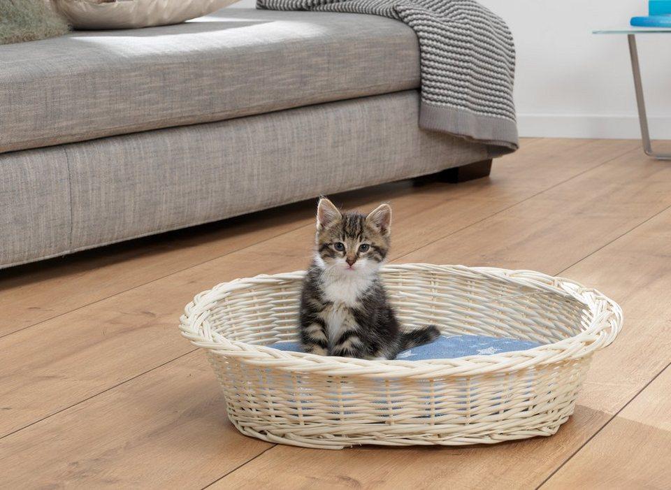 Katzenkorb »Weidenkorb« in blau/weiß